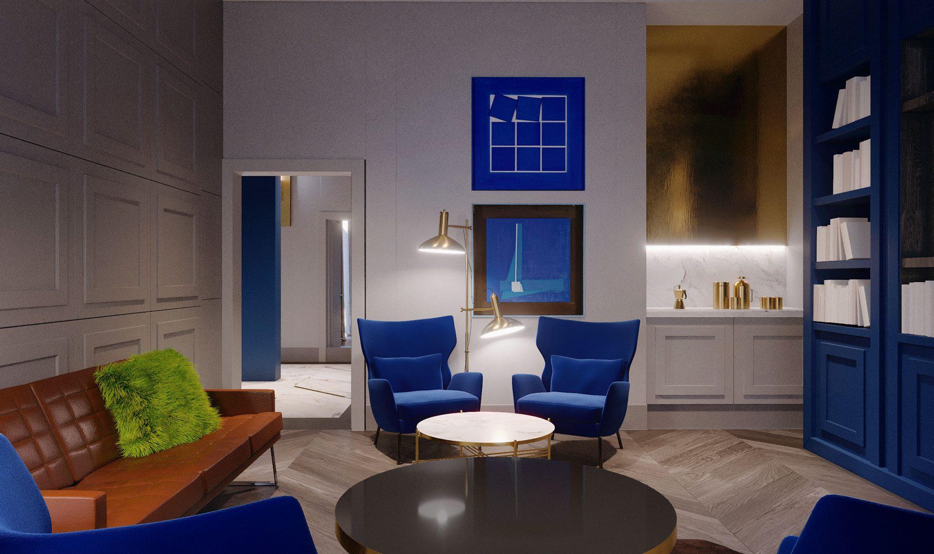 luksusowe apartamenty warszawa lounge wizualizacja